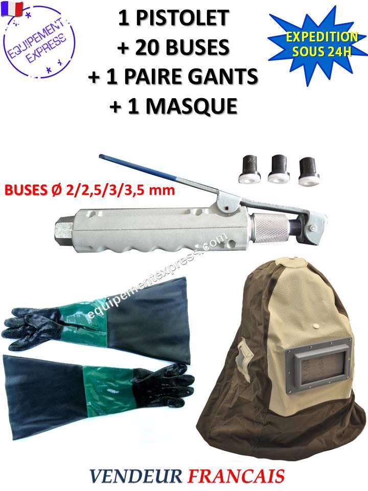 pistolet gachette de sablage pour sableuse mobile 20 buses 1 paire de gants 1 masque. Black Bedroom Furniture Sets. Home Design Ideas