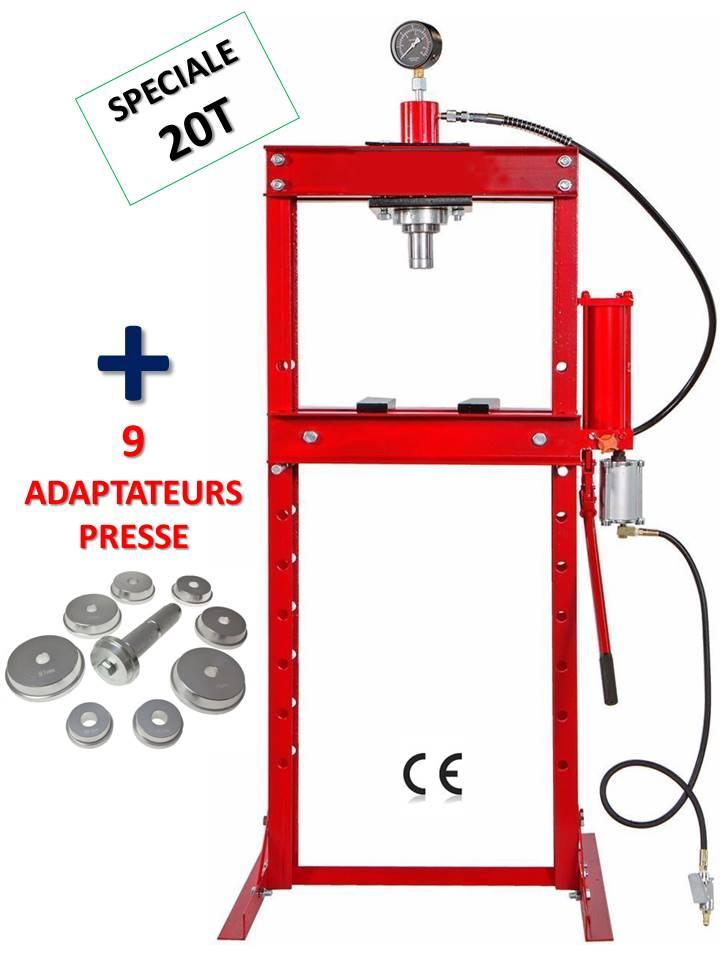 presse hydraulique d atelier 20 tonnes sur bati avec manometre pedale + 9 adaptateurs roulement