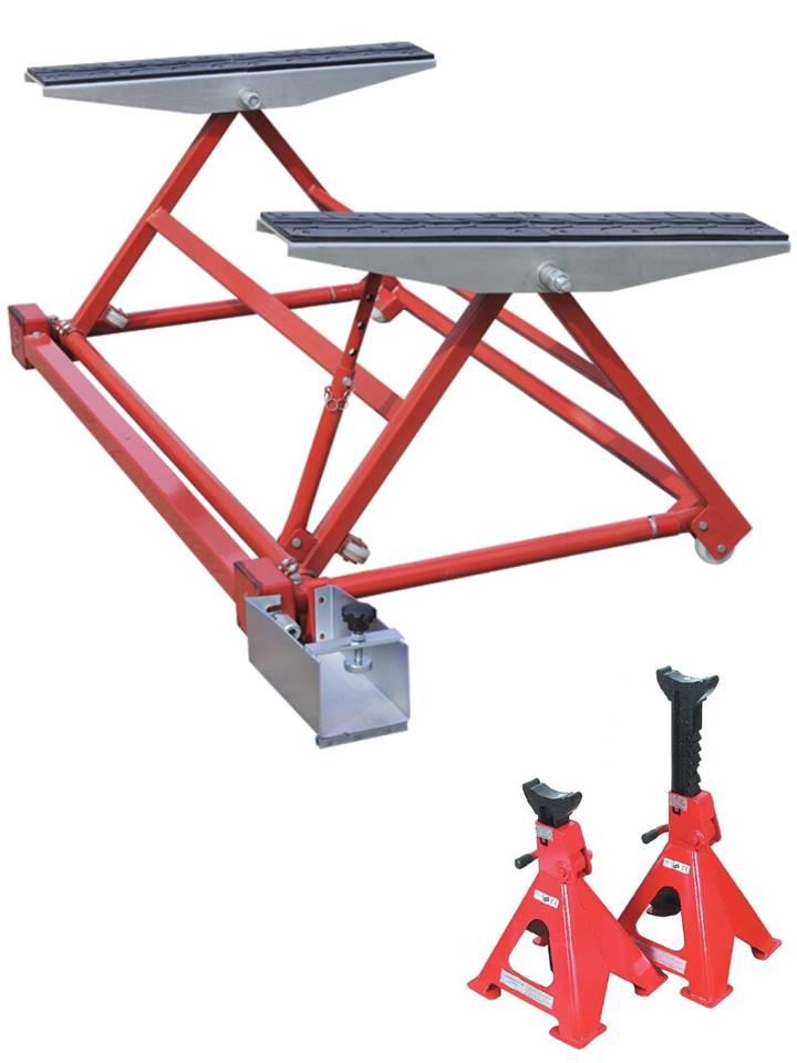 mini pont mobile elevateur basculant pour levage auto 1500 kg + 1 paire de chandelles 3t