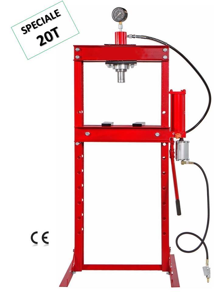 presse hydraulique d'atelier 20t sur bati avec manometre pompe et pedale