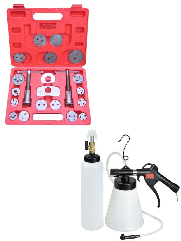 coffrets repousse piston etrier de freins universel 22 pcs + kit purgeur de frein autonome pneumatique avec remplissage 700 ml