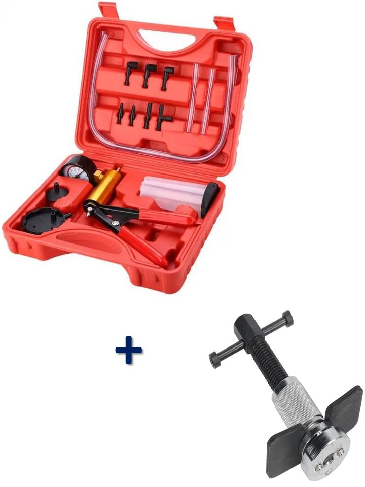 kit outils repousse piston etrier de frein + coffret pompe purgeur de frein