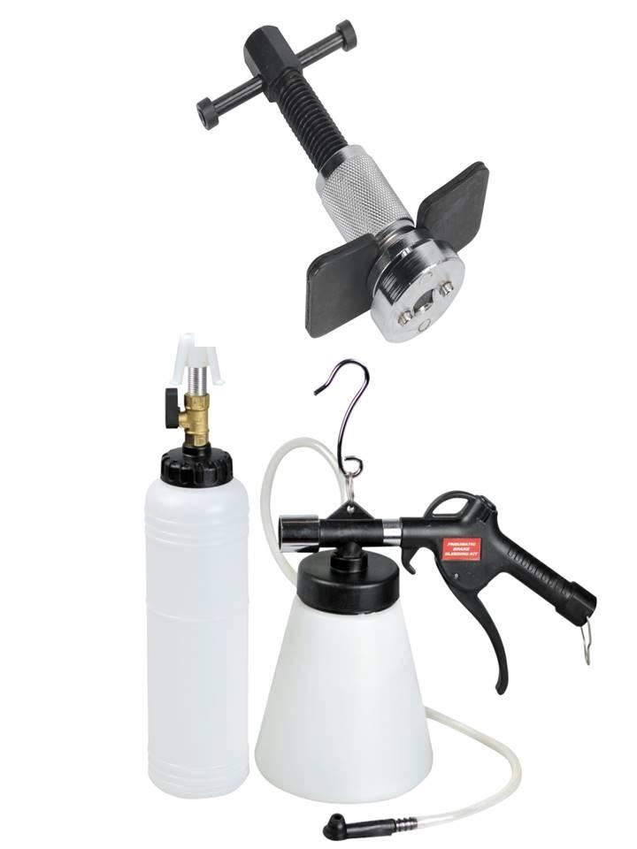 kit outils repousse piston etrier de frein + kit purgeur purge de frein autonome pneumatique avec remplissage 700 ml