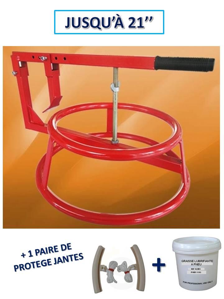 décolle pneu manuel portable avec arceau + 1 paire de protection jante + graisse pneu 1kg