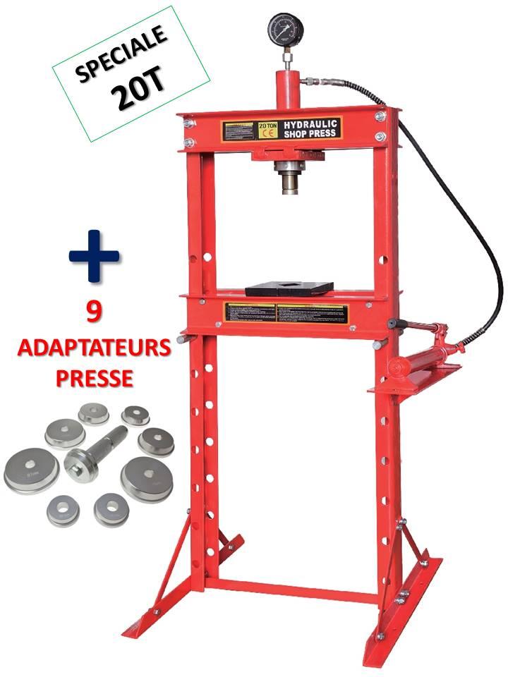 presse hydraulique d'atelier 20t sur bati avec manometre + 9 adaptateurs