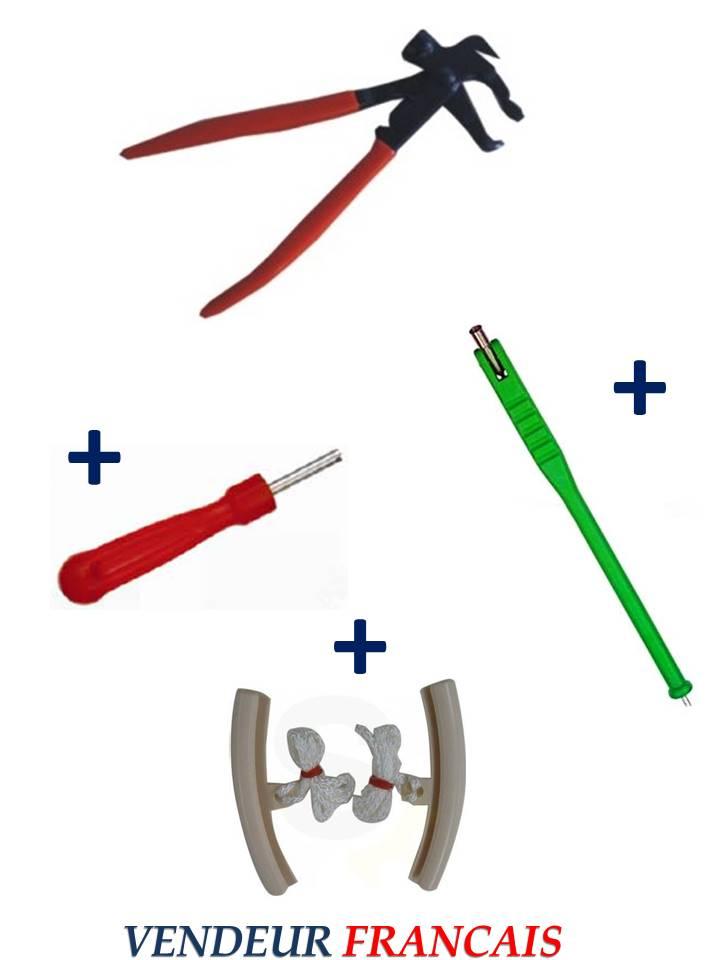 kit pince pour plombs masses d'equilibrage + tire valve + démonte obus + 2 protèges jante auto