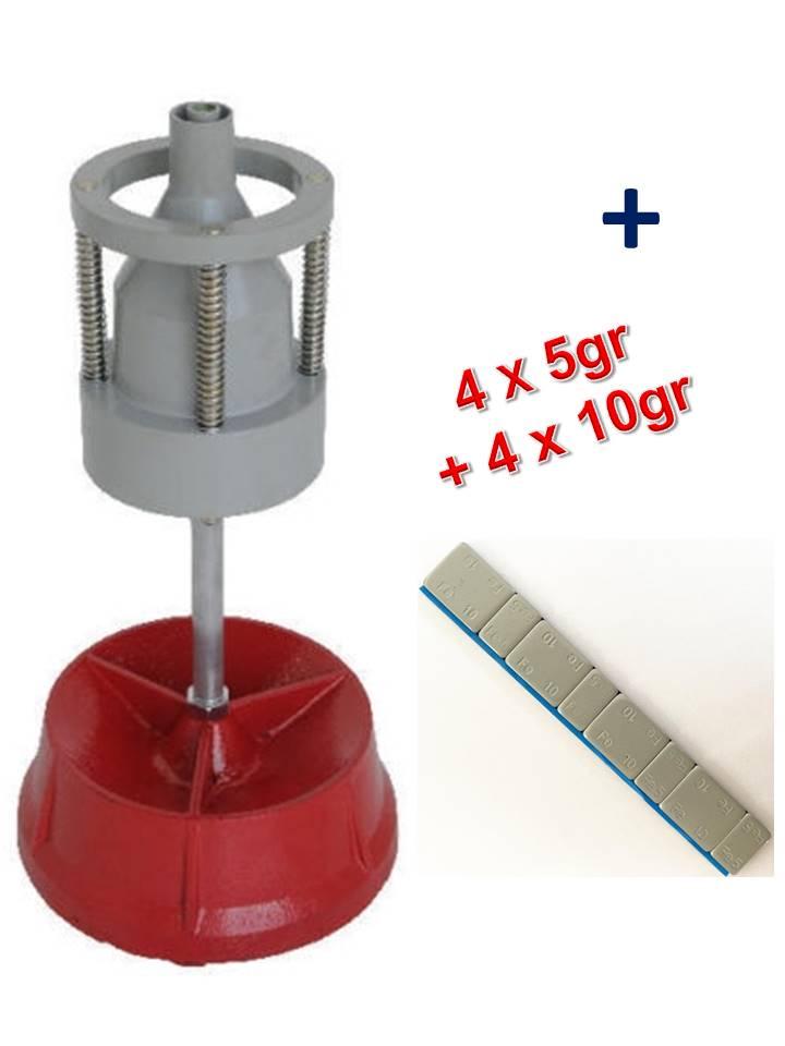 equilibreuse de roue manuelle portable avec centreur + 100 barrettes plombs adhésifs 12x5gr