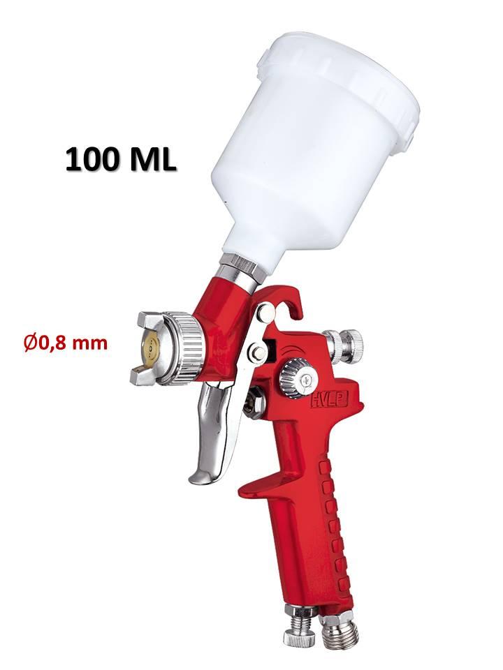 pistolet à peinture hvlp pneumatique 100ml buse 0,8mm triple réglage